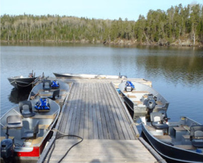Fishing Boats and Dock Overlooking Rowdy Lake