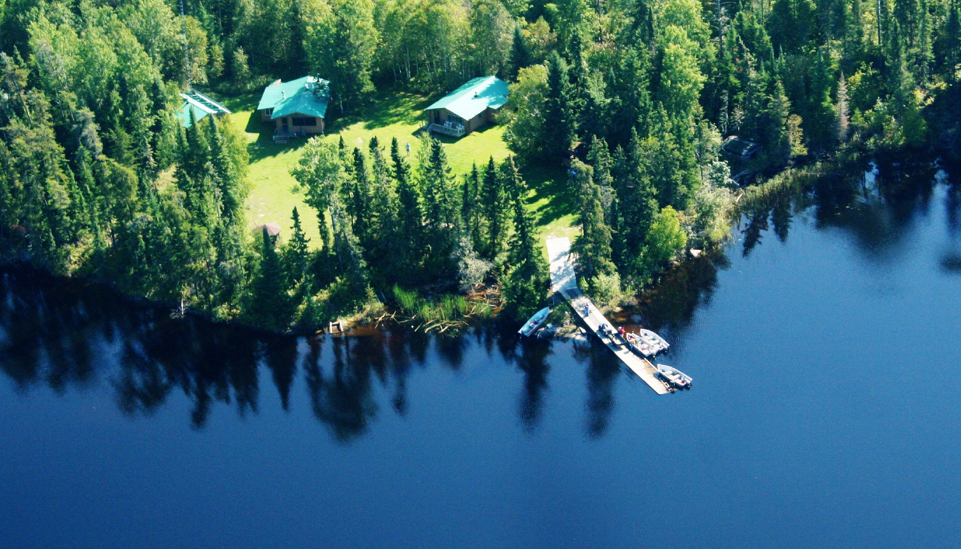 Rowdy Lake Camp Aerial View of Dock and Cabins