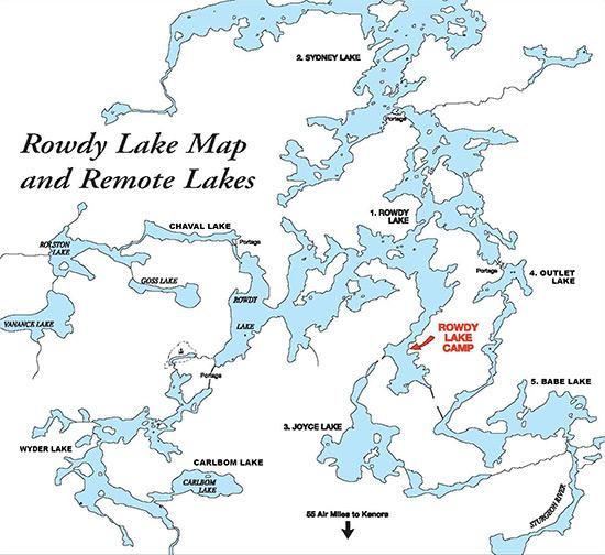 Rowdy Lake Map and Remote Lakes