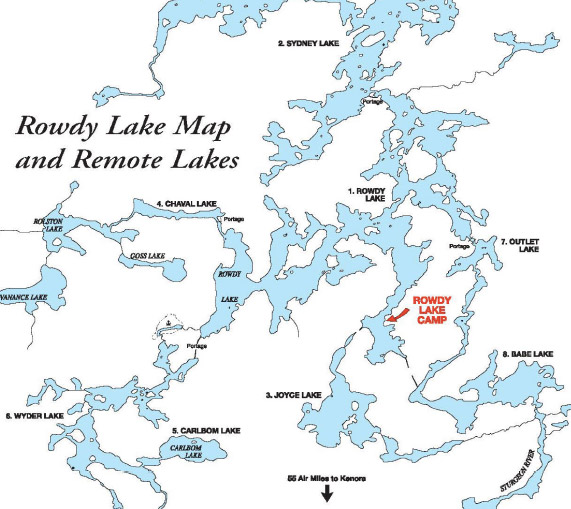 Rowdy Lake Map and Remote Lakes